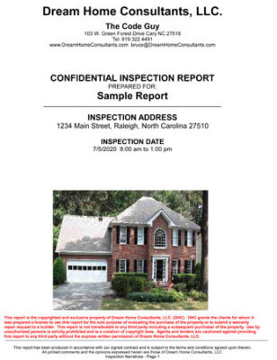 Inspection Report Comments Front Page